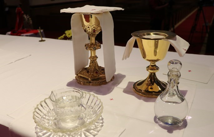 Chalice and patten on the altar at the Cathedral