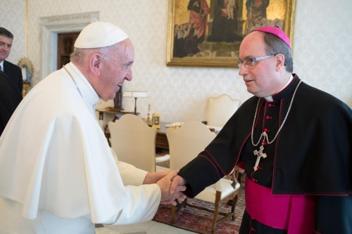 His Excellency Most Reverend Bishop Daniel Miehm with Pope Francis
